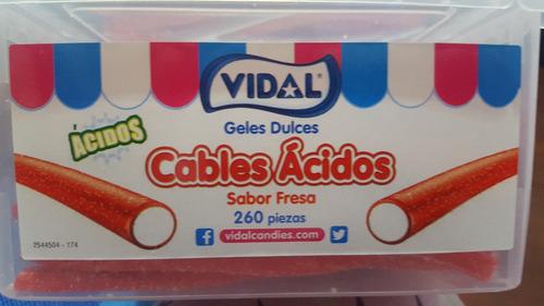 dulces importados vidal® - gomas cables acidos fresa