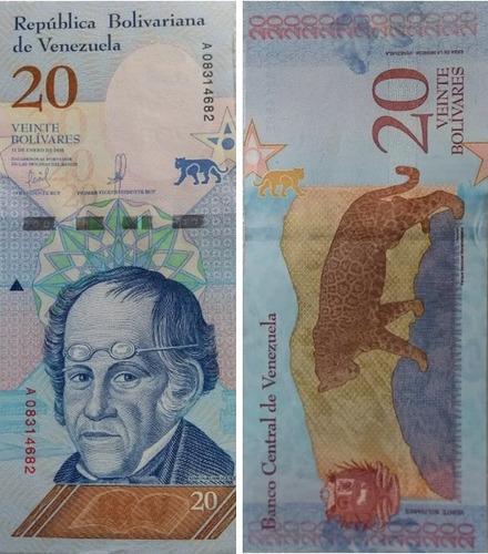 duo de billetes 10 y 20 bolivares soberanos unc
