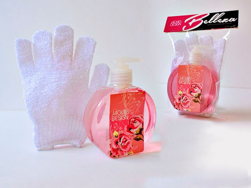 duo de ducha jabon liquido + guante scruub