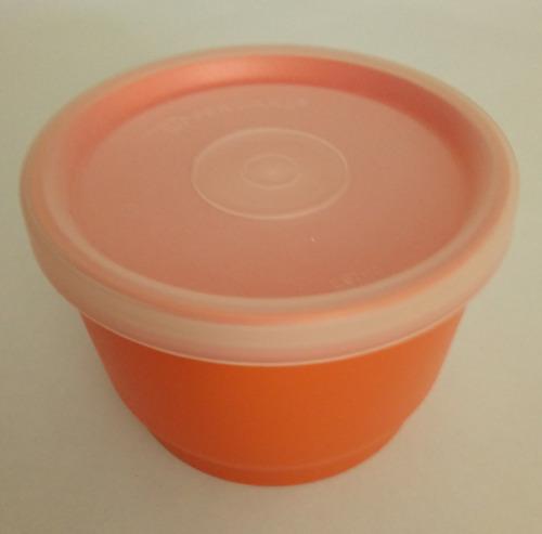 duo de envases mini naranja con sello - marca tupperware