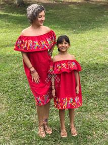 Dúo Mamá E Hija Vestido Campesina Artesanal Mexicano