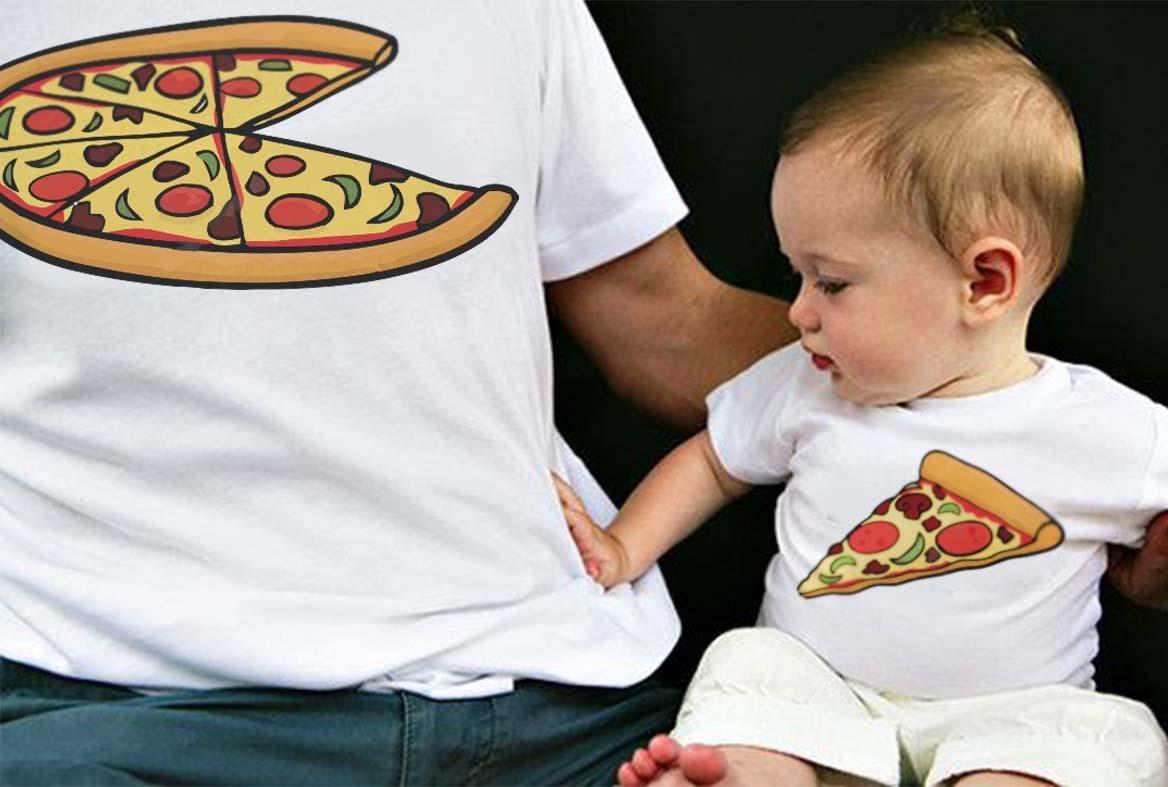 Dúo Padre E Hijo Playera Y/o Pañalero Pizza Rott Wear
