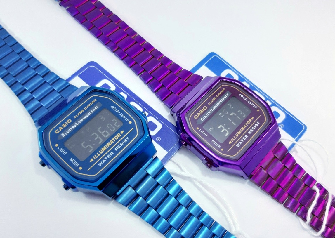 Duo Pareja Reloj Casio A168 Morado Y Azul Metálico Retro 2 Piezas Clasico Hombre Mujer Vintage Dama Caballero Relojes