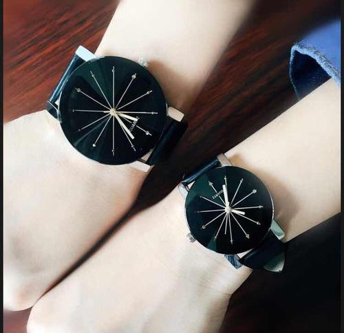 duo pareja relojes para mujer hombre negros hermosos regalos