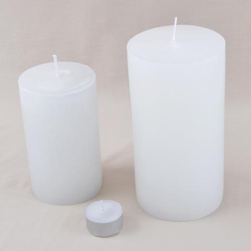 duo pilar cilíndricas velas artesanais brancas grandes