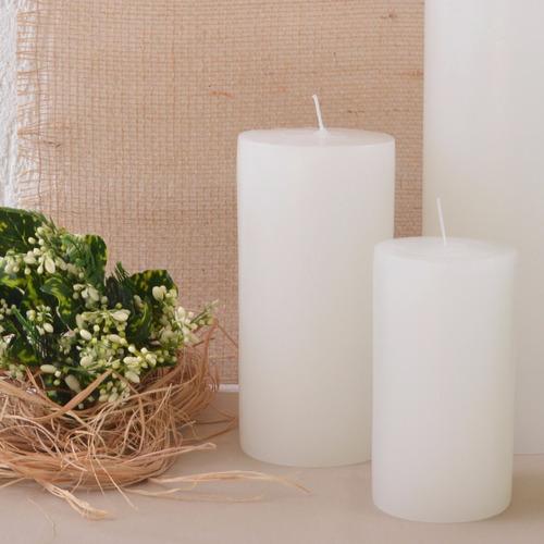 duo super pilar cilíndricas velas artesanais brancas grandes