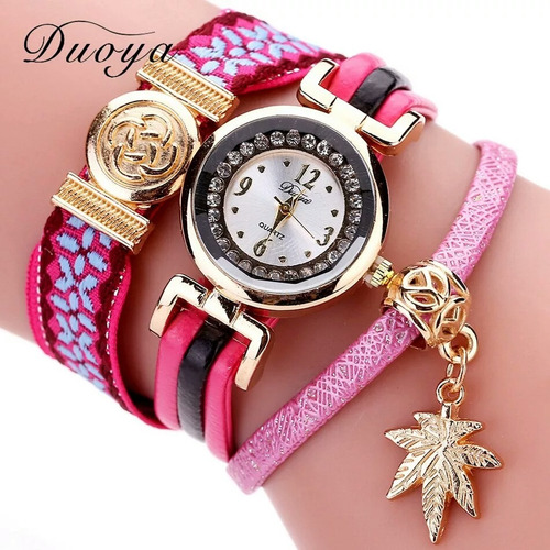 duoya marca 2017 nova moda weave pulseira de couro relógios