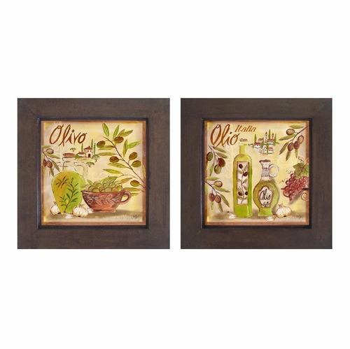 dupla de quadros decorativos cozinha 30 x 30 cm cada