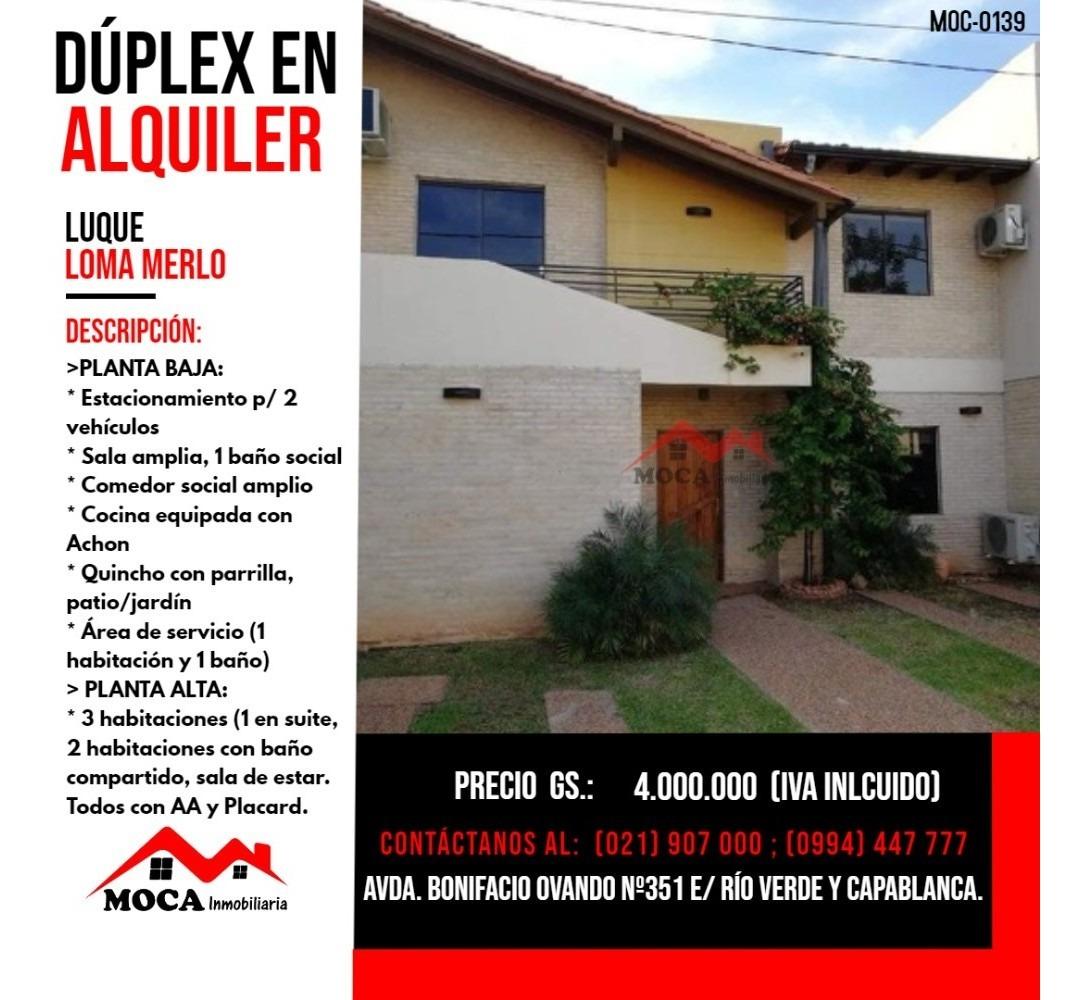 dúplex en alquiler luque, moc-0139