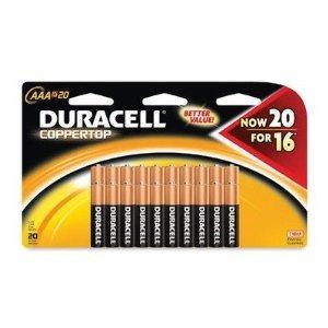 duracell coppertop alcalinas aaa baterías 20 count