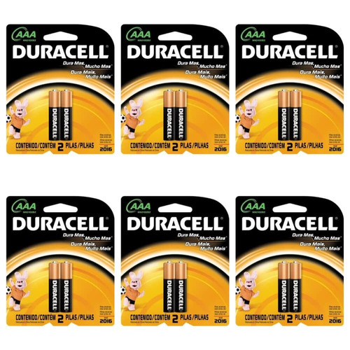 duracell palito pilha aaa c/2 (kit c/12)