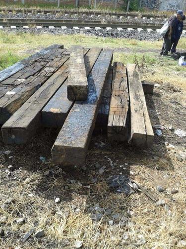 durmientes de madera largos ferrocarril tizayuca hidalgo
