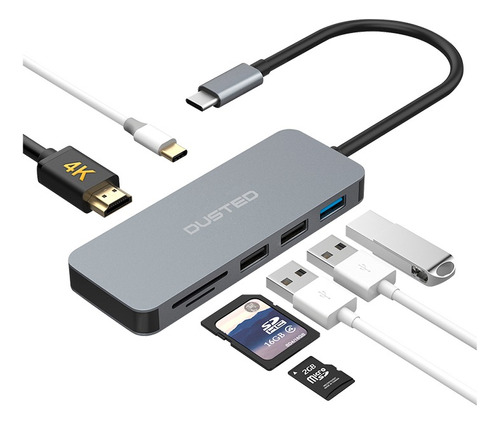 dusted hub usb-c multipuertos 7 en 1