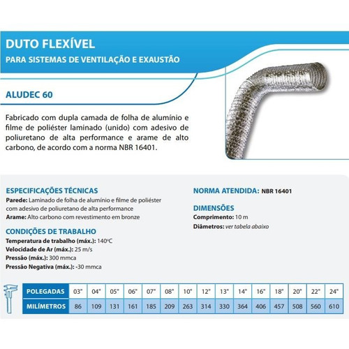 duto flexivel 150mm 10 metros