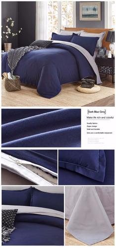 duvet azul gris king doble faz 2 fundas sábana ajusta 4 pzas