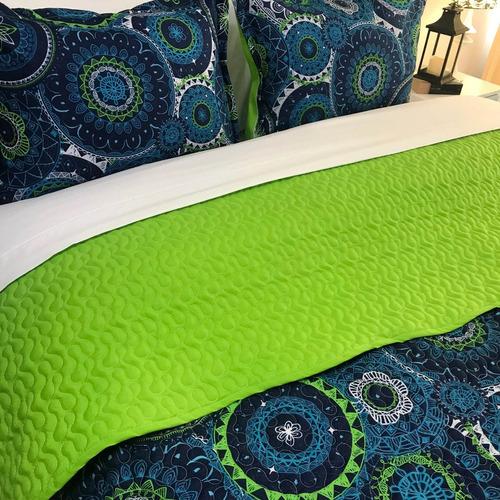 duvet king estampado medallones doble faz verde