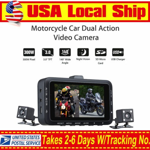 dv168 motos biker coche dash doble cámara dvr video 0.3mp