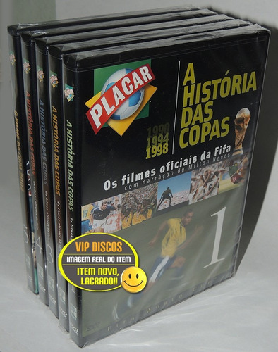 dvd a história das copas placar coleção completa 5 dvds nova