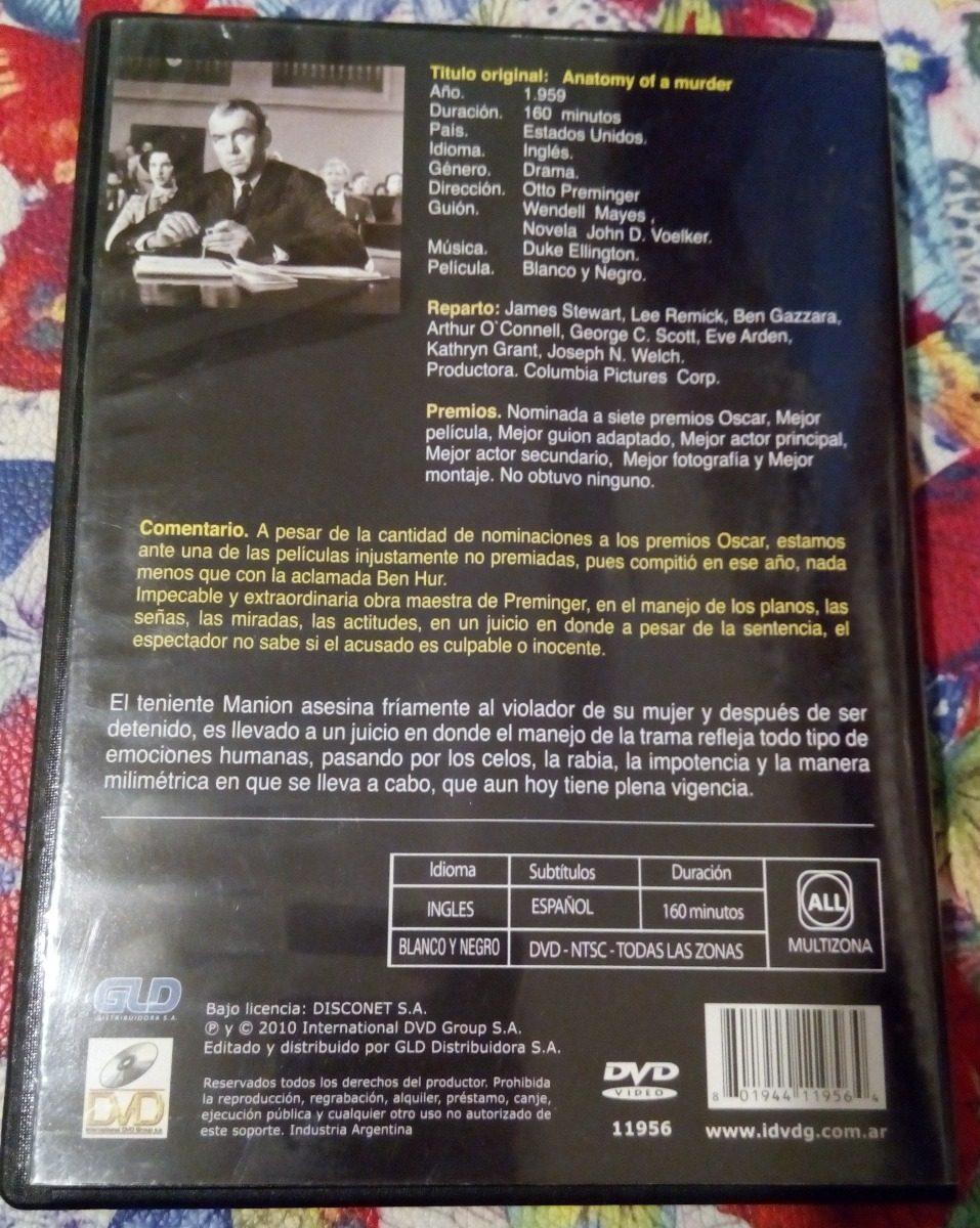 Dvd Anatomía De Un Asesinato ( James Stewart ) - $ 96,00 en Mercado ...