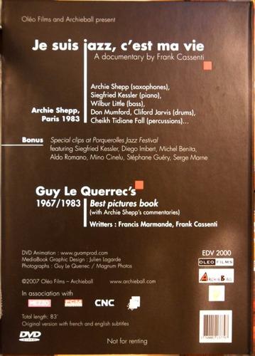 dvd archie shepp je suis jazz c'est ma vie 70 anniversaire