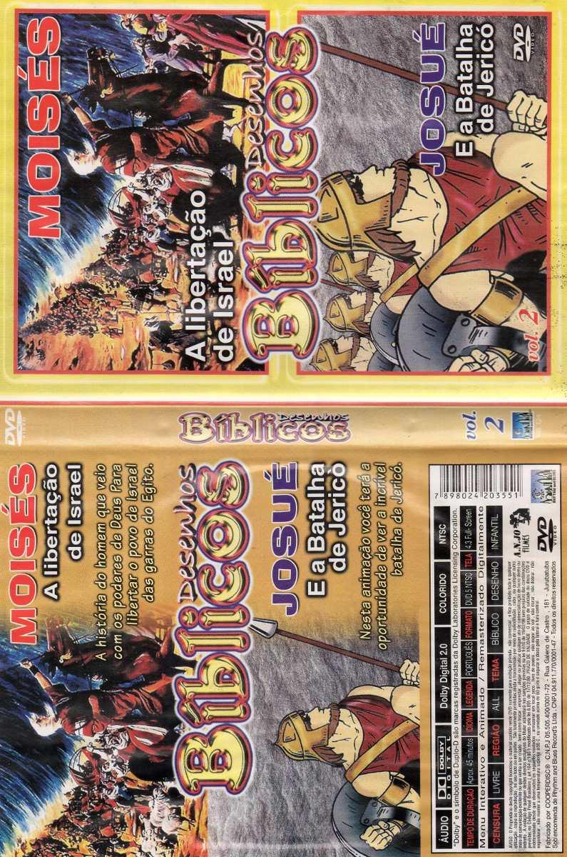 dvd biblícos josué e moisés 2 desenhos r 12 90 em mercado livre