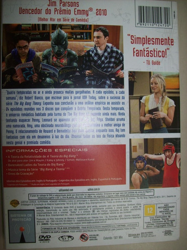 dvd - big bang a teoria - quarta temporada completa - 3 disc