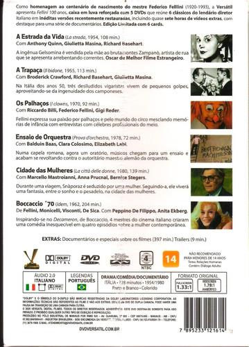 dvd box fellini 100 anos 6 filmes (box com 5 dvds) 728 min +