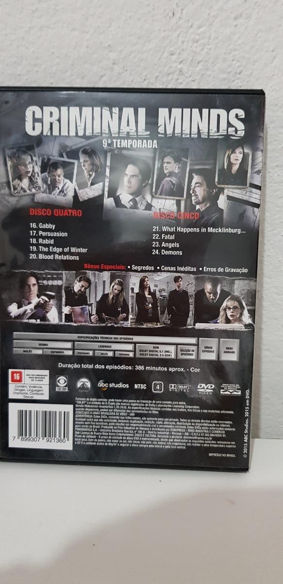 Dvd Criminal Minds 9ª Temporada 5 Discos - R$ 119,90 em Mercado Livre