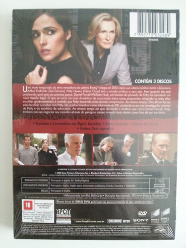 dvd damages - 2ª temporada completa 3 discos - lacrado!!!