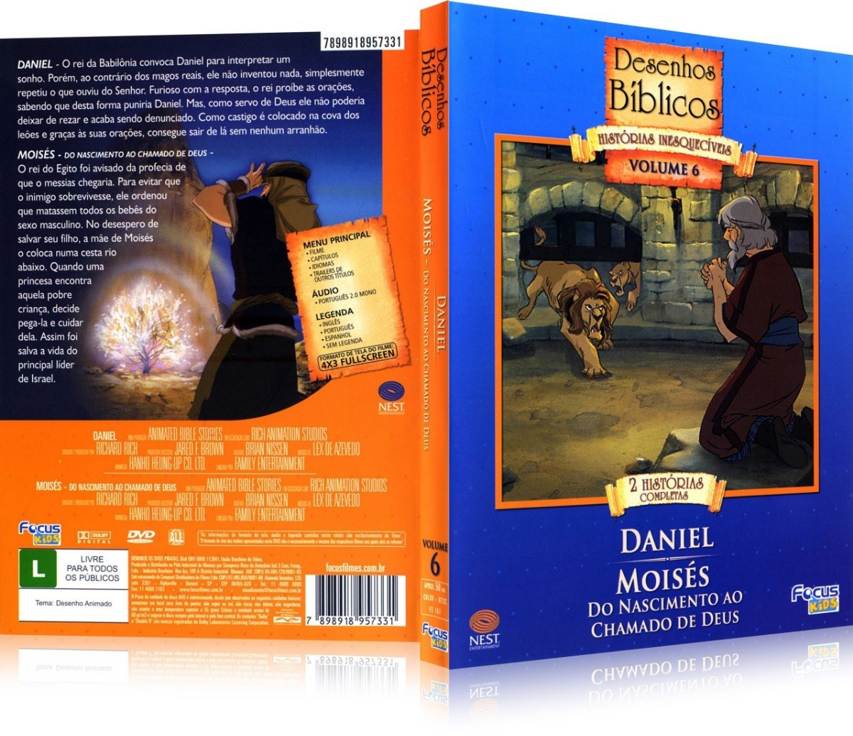 Dvd Desenhos Biblicos Vol 6 Daniel Moises Do Nasciment R