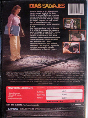 dvd - dias salvajes - donald sutherland - diane lane