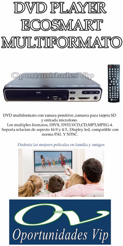 dvd ecosmart reproductor cd mp4 sd, mp3 pen drive