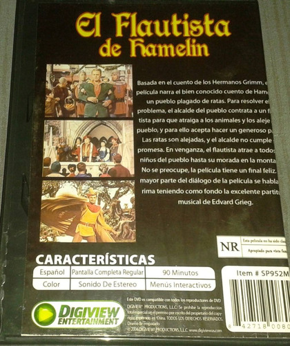 dvd el flautista de hamelin con claude rains y van johnson