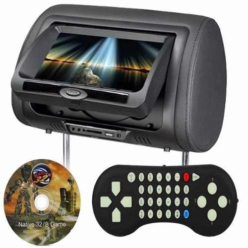 dvd encosto de cabeça monitor c/ tela 7 pol + usb sd + jogos