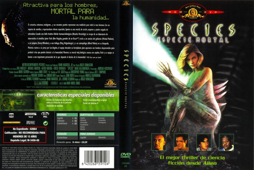 dvd especies species 1 terror gore aliens molina whitaker et