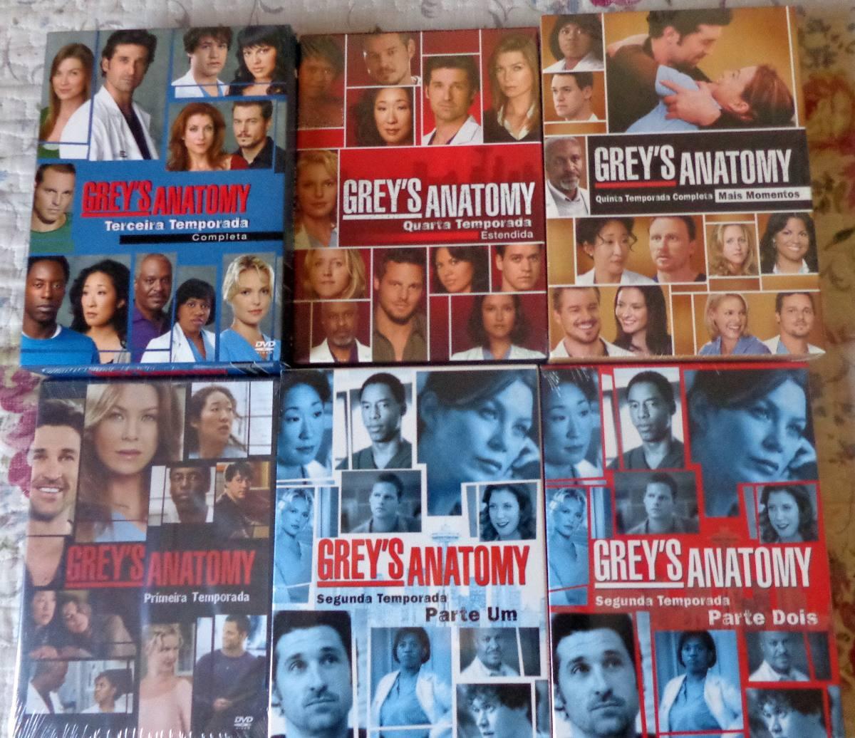 Dvd Greys Anatomy Coleo 1 A 5 Temporada Boxes Originais R
