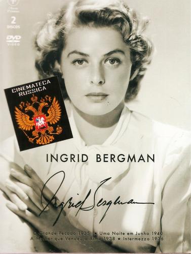 dvd ingrid bergman box 2 dvds  4 filmes p/b cards 1935-40 +