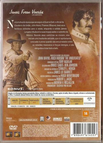 dvd jamais foram vencidos - john wayne / rock hudson - novo*