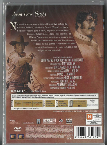 dvd jamais foram vencidos - john wayne, rock hudson,lacrado