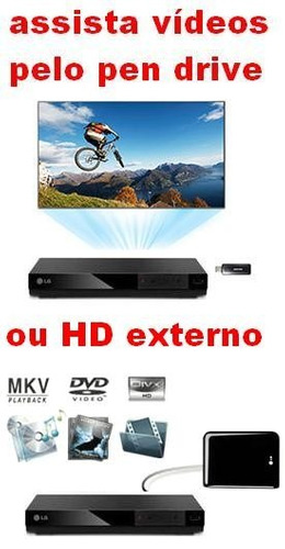 dvd lg dp132 c/ usb reproduz pen-drive  hd externo qq tv cx