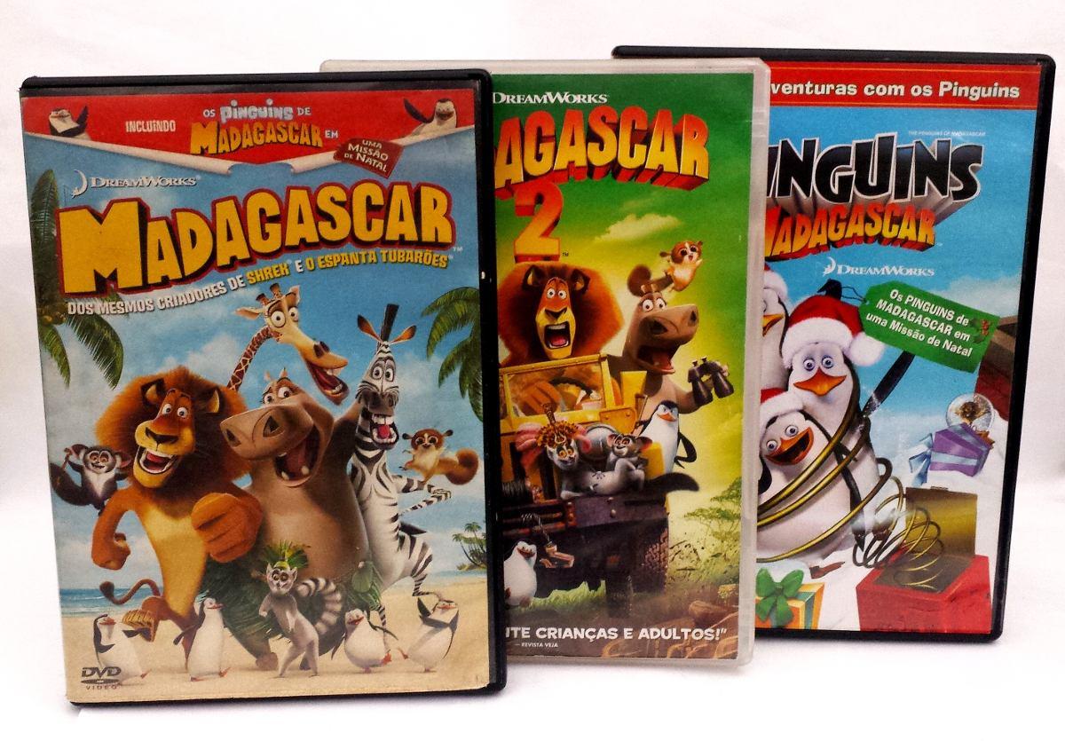 Dvd Madagascar 1 E 2 E Os Pinguins De Madagascar (originais)