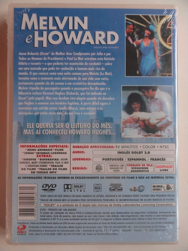 dvd - melvin e howard - novo e lacrado - comédia
