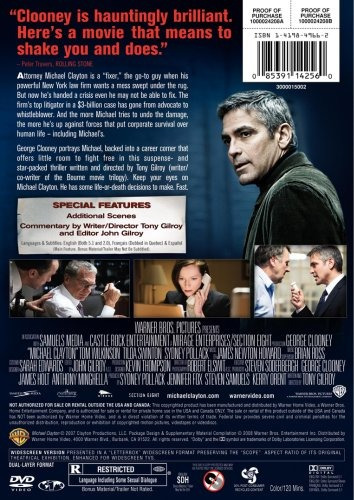 dvd : michael clayton (, dubbed, dolby, ac-3, widescreen)