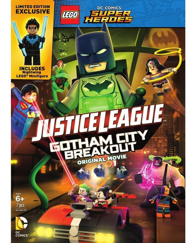 dvd + minifigura lego dc - movie gotham city breakout