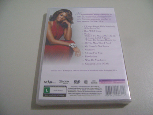 dvd musical whitney houston a song for you live! original !