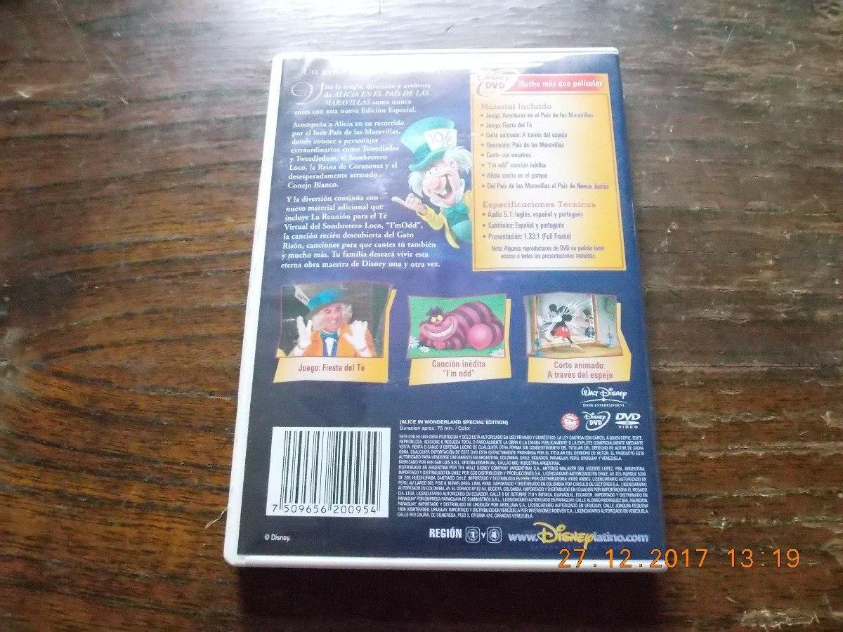 Dvd Original Alicia En El Pais De Las Maravillas - Disney - $ 345,00 ...