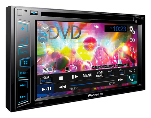 dvd pioneer avh-298bt + moldura onix cobalt spin + câmera ré