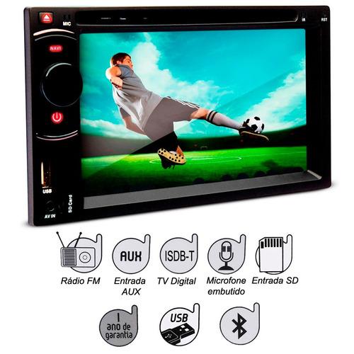 dvd player 2 din dazz dz 52216bt dtv lcd 6 2 39 39 bluetooth tv r em mercado livre