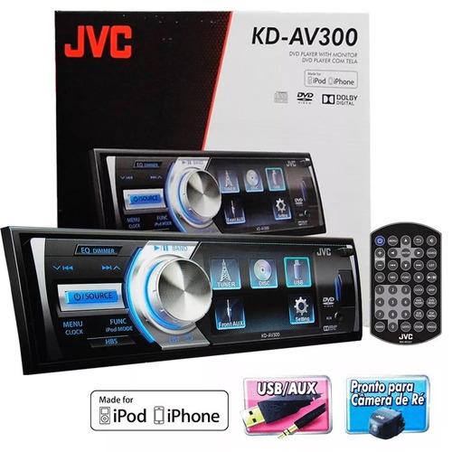 dvd player jvc kd-av300 tela 3´´ mp3 wma aux usb ipod/iphone