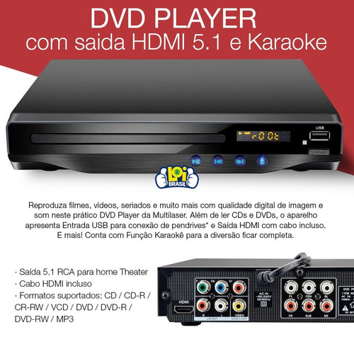 dvd player multilaser hdmi 5.1 canais karaoke usb sp193 loi